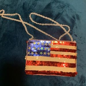 American flag zip crossbody